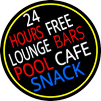 24 Hours Free Lounge Bars Pool Cafe Snack Oval With Border Enseigne Néon