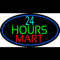 24 Hours Mini Mart With Blue Round Enseigne Néon