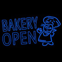 Bakery Open With Man Enseigne Néon
