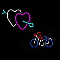 Bike With Heart Logo Enseigne Néon