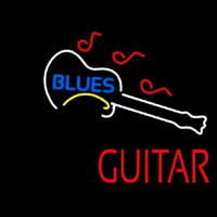 Blue Blues Red Guitar Enseigne Néon