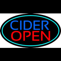 Blue Cider Open With Turquoise Oval Enseigne Néon