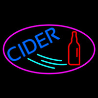 Blue Cider With Pink Oval Enseigne Néon