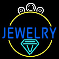 Blue Jewelry Center Ring Logo Enseigne Néon