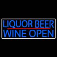 Blue Liquor Beer Wine Open With White Border Enseigne Néon