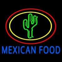 Blue Mexican Food With Cactus Logo Enseigne Néon
