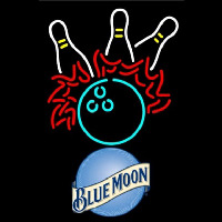 Blue Moon Bowling Pool Beer Sign Enseigne Néon
