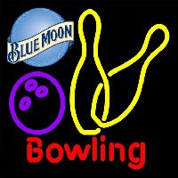 Blue Moon Bowling Yellow 16 16 Beer Sign Enseigne Néon