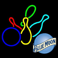 Blue Moon Colored Bowlings Beer Sign Enseigne Néon
