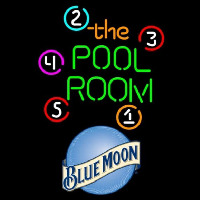 Blue Moon Pool Room Billiards Beer Sign Enseigne Néon