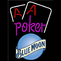 Blue Moon Purple Lettering Red Aces White Cards Beer Sign Enseigne Néon