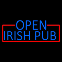 Blue Open Irish Pub With Red Border Enseigne Néon