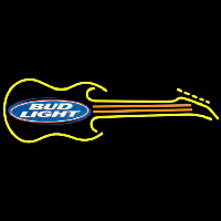 Bud Light Guitar Yellow Orange Beer Sign Enseigne Néon