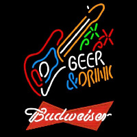 Budweiser Red And Drink Guitar Beer Sign Enseigne Néon