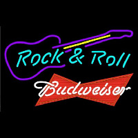 Budweiser Red Rock N Roll Guitar Beer Sign Enseigne Néon