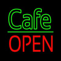 Cafe Block Open Green Line Enseigne Néon