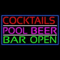 Cocktails Pool Beer Bar Open Enseigne Néon
