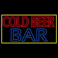 Cold Beer Bar With Yellow Border Enseigne Néon