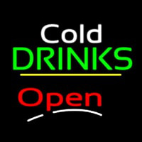 Cold Drinks Open Yellow Line Enseigne Néon