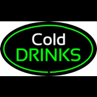 Cold Drinks Oval Green Enseigne Néon