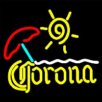 Corona Beach Sun Umbrella On Sand Beer Sign Enseigne Néon