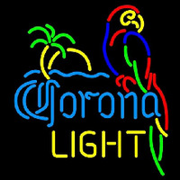 Corona Light Parrot with Palm Beer Sign Enseigne Néon