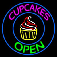 Cupcakes Open With Circle Enseigne Néon