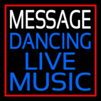 Custom Block Blue Live Music Dancing Red Border Enseigne Néon