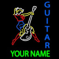 Custom Guitar Logo And Blue Guitar Enseigne Néon