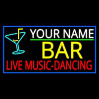 Custom Red Live Music Dancing Yellow Bar And Blue Border Enseigne Néon