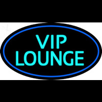 Custom Turquoise Vip Lounge Oval With Blue Border Enseigne Néon