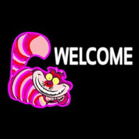 Custom Welcome With Smiley Cat 1 Enseigne Néon