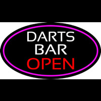 Dart Bar Open Oval With Pink Border Enseigne Néon