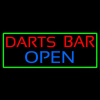 Dart Bar Open With Green Border Enseigne Néon
