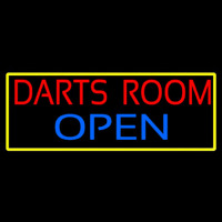 Darts Room Open With Yellow Border Enseigne Néon