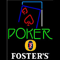 Fosters Green Poker Red Heart Beer Sign Enseigne Néon