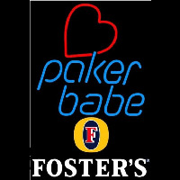 Fosters Poker Girl Heart Babe Beer Sign Enseigne Néon