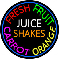 Fresh Fruit Juice Carrot Orange Shakes Enseigne Néon