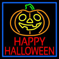 Happy Halloween Pumpkin With Blue Border Enseigne Néon