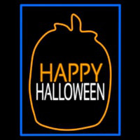 Happy Halloween With Blue Border Enseigne Néon