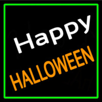Happy Halloween With Green Border Enseigne Néon
