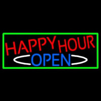 Happy Hour Open With Green Border Enseigne Néon