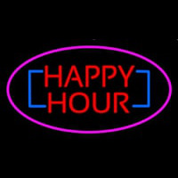Happy Hour Oval Pink Enseigne Néon