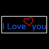 I Love You And Heart With White Border Enseigne Néon