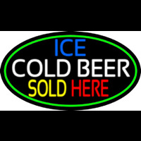 Ice Cold Beer Sold Here With Green Border Enseigne Néon
