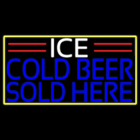 Ice Cold Beer Sold Here With Yellow Border Real Neon Glass Tube Enseigne Néon