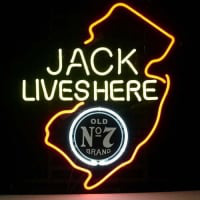 Jack Daniels Lives Here New Jersey Whiskey Neon Bière Bar Enseigne