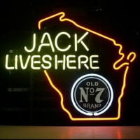 Jack Daniels Lives Here Whiskey Wisconsin Neon Bière Enseigne