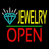 Jewelry Logo Open Green Line Enseigne Néon