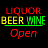 Liquor Beer Wine Cursive Open Enseigne Néon